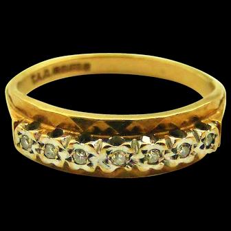 Vintage English 9k gold diamond half eternity ring