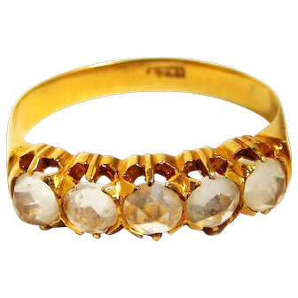 Unusual Edwardian to mid century carved half hoop ring in 18k gold and rock crystal
