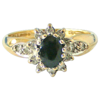 Vintage 9k gold sapphire and diamond cluster ring