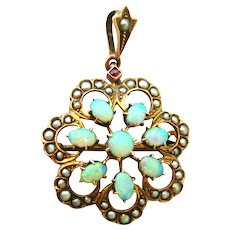 Beautiful Edwardian 9k gold opal, seed pearl and ruby pendant