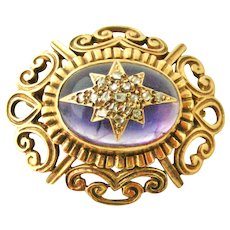 Victorian style 9k gold amethyst and diamond brooch