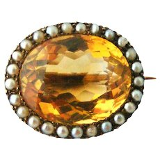 Victorian citrine and seed pearl brooch in 9k gold