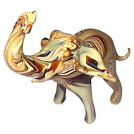 Rare Artisan Glass Elephant Figurine Slag Marbled Chocolate & Caramel Art hand molded