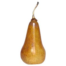 Signed Hand-Blown Art Glass Pear Anne Wright Fruit