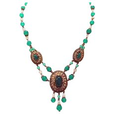 Art Deco Czech Green Glass Bead enamel necklace