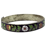 Cloisonné Hinged Bangle Red White Enamel flowers