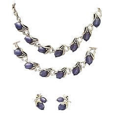 Lisner Blue Moonglow Lucite Parure Set Necklace Bracelet Earrings