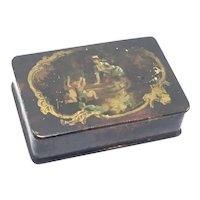 Antique Divided Papier Mache Lacquer pill/snuff Box Cherubs paper 19 century English