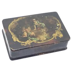 Antique Divided Papier Mache Lacquer pill/snuff Box Cherubs