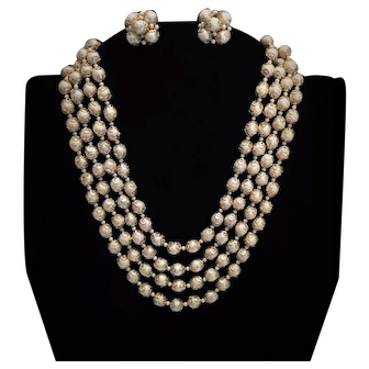 Simulated Pearl Demi-parure Multi-strand Set Necklace Earrings Japan Gold-tone Accents