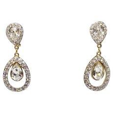 Vintage Swan-signed Swarovski Clear Crystal Earrings