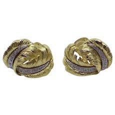 Kenneth Jay Lane KJL Feather Clip Earrings Gold-tone Clear Rhinestone