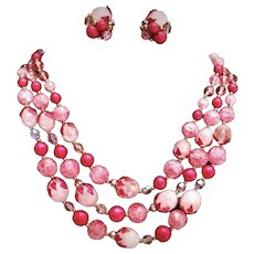 Vintage Red & Pink Deauville Demi-parure 3-strand Necklace & Earrings