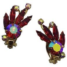 Vintage Signed Beaujewels Red Rhinestone Earrings Aurora Borealis