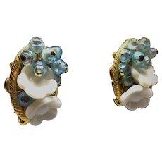 Vintage Molded Milk Glass Flower Clip Earrings AB Beads & Filigree