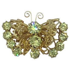 Small Vintage Rhinestone Figural Butterfly Pin Brooch
