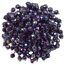 Vintage Cluster Pin Black Aurora Borealis Beads West Germany