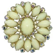 Juliana D&E Pin Pendant Cream & AB Rhinestones Brooch Mid-Century Vintage
