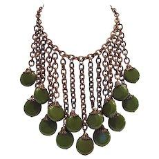 Vintage Art Deco Spinach Green Bakelite Drop Chain Necklace