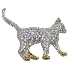 Vintage Swarovski Walking Cat Brooch Pin Swan-Signed Rare Retired