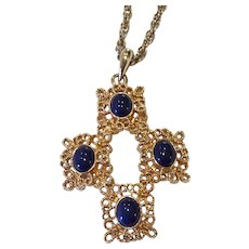 "Vintage Sarah Coventry ""Victoria Blue"" Necklace Gold-tone 1975"