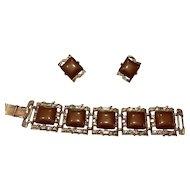 Vintage Coro Demi-parure Chocolate Brown Lucite Bracelet & Earrings