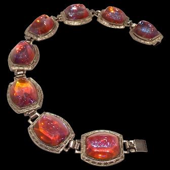 Vintage Bracelet with Dragon's Breath Sugar Loaf Art glass