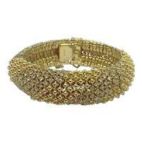 Ciner Clear Crystal Rhinestone-Filled Bracelet Gold-plated Signed