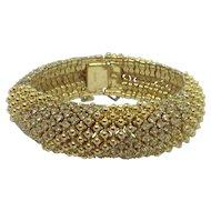 Vintage Ciner Clear Crystal Rhinestone Filled Bracelet Gold-plated