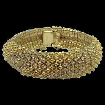 Vintage Ciner Clear Crystal Rhinestone Bracelet Gold-plated