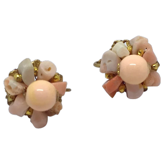 Signed Miriam Haskell Pink Coral Clip Earrings