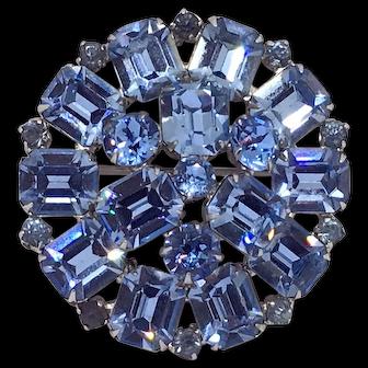 Weiss Light Blue Rhinestone Pin Brooch Signed
