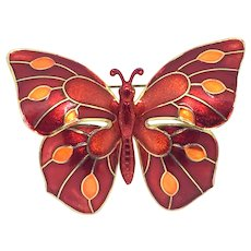 Vintage Large Enamel Butterfly Germany Red Orange