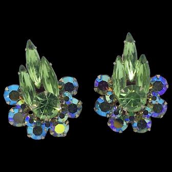 Vintage Signed Judy Lee Green & AB Rhinestone Earrings Clip