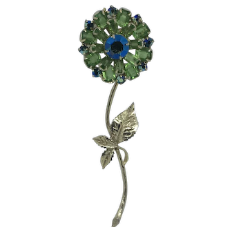 Vintage Green Rhinestone flower pin brooch Mid-Century