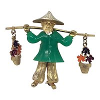 Vintage Asian Man Pin with Flower Pot Charms Faux Jade plastic (water-carrier)