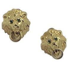 Vintage Signed Napier Lion Clip Earrings Doorknocker clip Green rhinestones