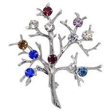 Vintage Rhinestone Sterling Silver Tree of Life Pin Multicolor