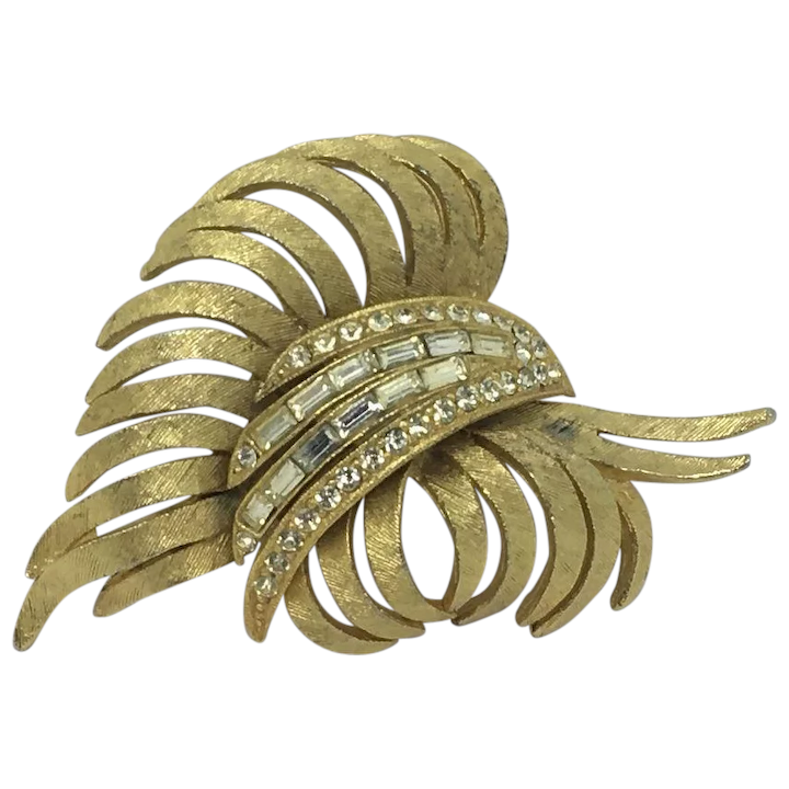 Gold Signed BSK Large Rhinestone Brooch Vintage Old Jewelry