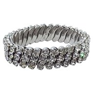 Crystal-Clear Rhinestone expansion bracelet made in Japan.