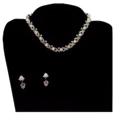 Lisner White Moonglow & Rhinestone Demi-parure Set Necklace Earrings