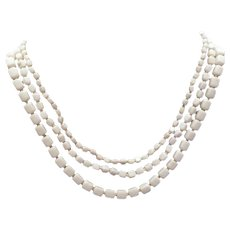 Triple-strand Milk glass necklace made in Germany