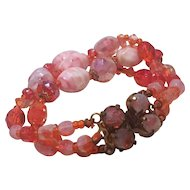 Vintage Germany Art Glass Bead Bracelet Triple Strand