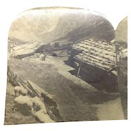 Stereograph Switzerland Alps Sheepherders Hut Keystone Stereoview