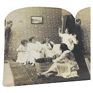 Stereograph Photo Halloween Party Art Nouveau Platino Graves Intruder