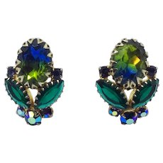 Mid-century Rhinestone Clip Earrings Blue Green AB