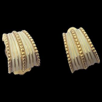 Ciner Small Enamel Clip Earrings White Cream Signed