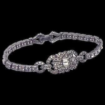 Art Deco Sterling Rhinestone Bracelet by Otis of RI Signed
