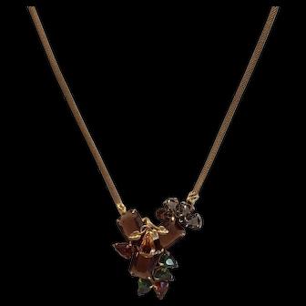 Vintage Rhinestone Necklace Fall Autumn Green Amber Mesh Chain