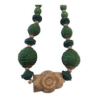 Vintage Czech Glass Beads opaque Green White Art Deco